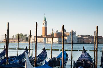 Row Of Gondolas In Front Of San Giorgio Maggiore