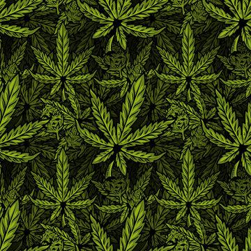 Cannabis seamless pattern print design