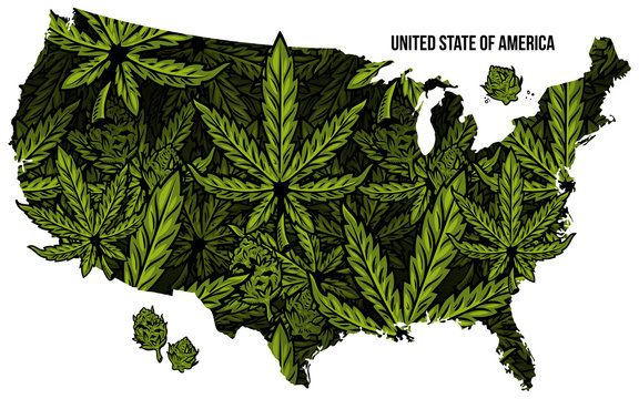 Map of USA cannabis print design