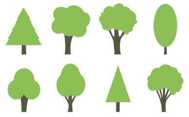 Flat tree forest organic shape icons