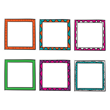 doodle frame collection with bright color handdrawn doodle style vector