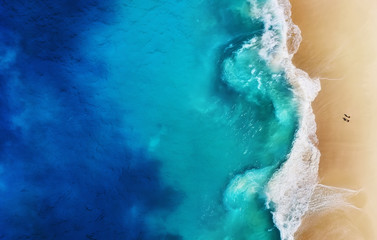 Panorama of a coast as a background from top view. Turquoise water background from top view. Summer...
