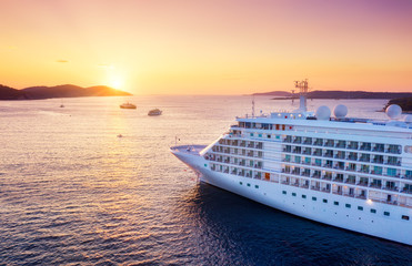 Croatia. Aerial view at the cruise ship during sunset. Adventure and travel.  Landscape with cruise liner on Adriatic sea. Luxury cruise. Travel - image Fototapete