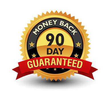 Golden color powerful 90 day money back guaranteed badge, seal, sign, label with red ribbon isolated on white background.