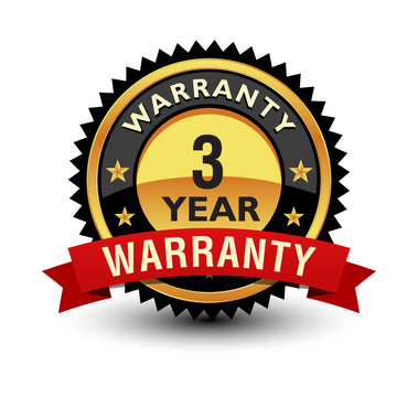 Powerful 3 year warranty badge, sign, label, seal with red ribbon on top.
