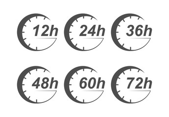 Time of action 12, 24, 36, 48, 60, 72 hours. Simple design on transparent background.
