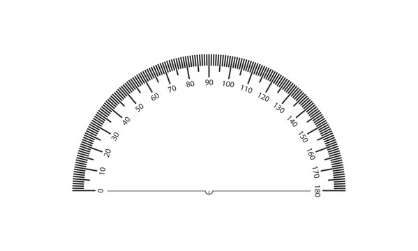 Real protractor on transparent background. 1 division is 1 degree.