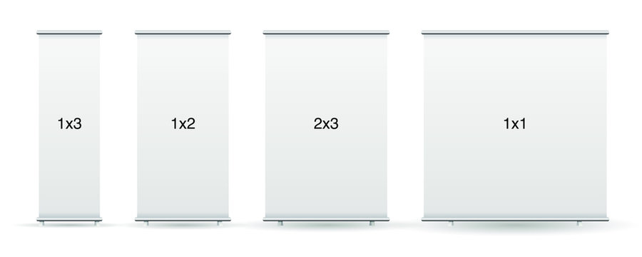 Empty standee or rollup banner display mockup on isolated white background. Display mockup for presentation or exhibition product. Vertical blank roll up stand template in 1x1, 1x2, 1x3 and 2x3 sizes.