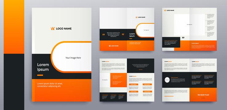 modern orange brochure pages design premium vector