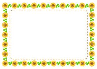 ひまわりのフレーム イラスト sunflower