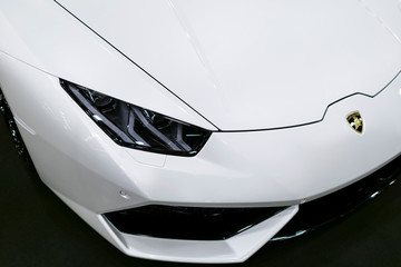 Sankt-Petersburg, Russia July 21 2017: Front view of a White Luxury sportcar Lamborghini Huracan LP 610-4. Car exterior details.