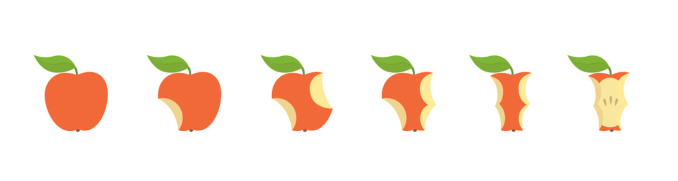 Red apple fruit bite stage set. From whole to apple core gradual decrease. Bitten and eaten. Animation progression. Flat vector illustration.