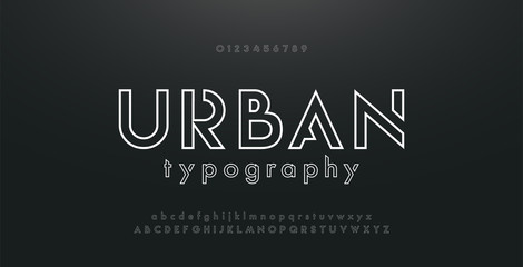 Fototapeta Abstract urban thin line font alphabet. Minimal modern fonts and numbers. Typography typeface uppercase lowercase and number. vector illustration obraz