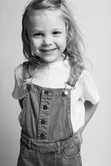 Little girl beautiful portrait. Black and white photo.
