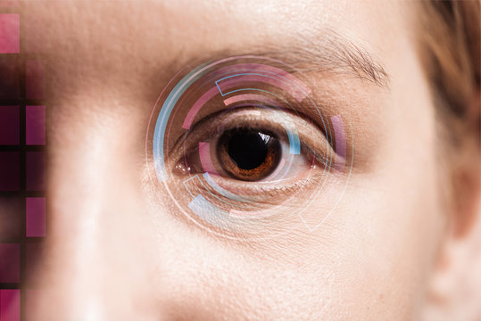 close up view of human eye with data illustration, robotic concept