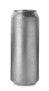Aluminum can of beverage covered with water drops on white background. Space for design