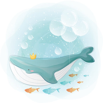Blue Whale Swimming with His Friends