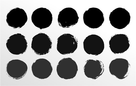Set of round button. Hand painted ink blob. Hand drawn grunge black circle. Graphic design element for web, corporate identity, cards, prints etc. Vector illustration. Isolated on white background.