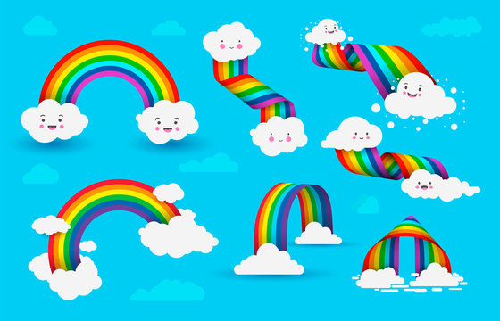 Set of Rainbows with clouds. Colorful rainbow with clouds on blue sky background. Vector illustration isolated on blue background.