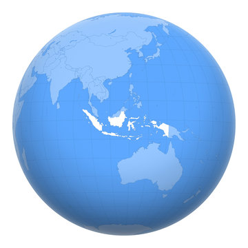 Indonesia on the globe. Earth centered at the location of the Republic of Indonesia. Map of Indonesia. Includes layer with capital cities.