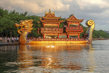 Dragon boat on West Lake, Hangzhou, China