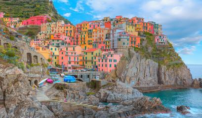 Manarola town, Cinque Terre Italy at the Ligurian Sea