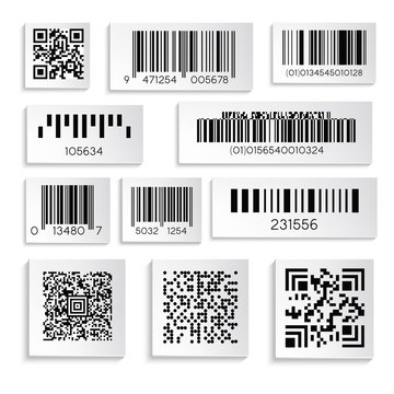 Barcodes or products sticker with cipher or serial number isolated icons