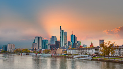 Skyline over the Main River at sunset - Frankfurt is the financial center of the country, Germany
