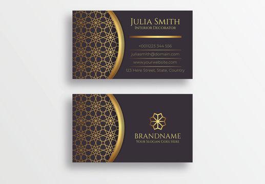 Dark and Golden Luxury Business Card Design Template