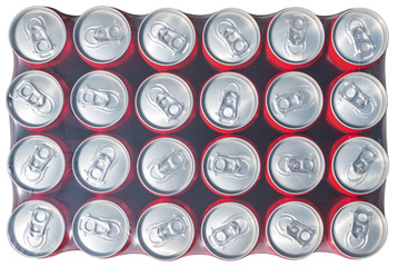 Red aluminium cans packed in plastick isolated at white background