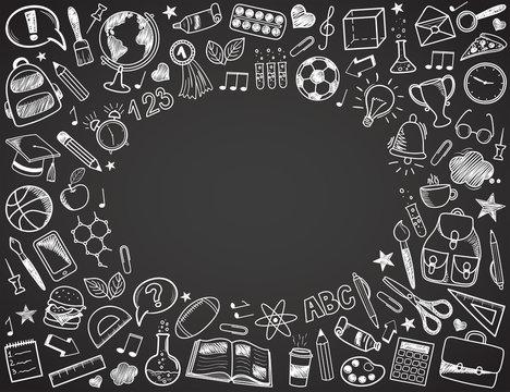 Back to School - sketch doodle set. Various hand-drawn school items arranged as frame on a dark grey blackboard. Vector illustration