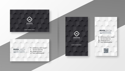 black and white business card design template