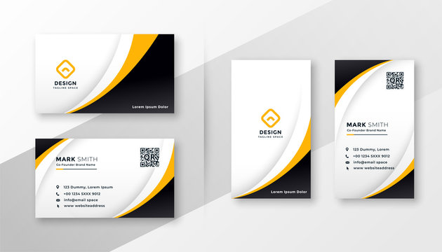 modern corporate business card design in yellow theme
