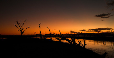Twilight sunset at the swamp of Lake Argyle at the outback in Western Australia – wallpaper