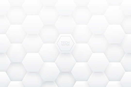 Tech 3D Vector Hexagonal Structure White Abstract Background. Science Technology Three Dimensional Hex Blocks Light Conceptual Wallpaper. Clear Blank Subtle Textured Backdrop