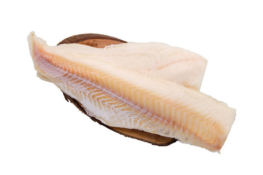 Frozen fillet of cod isolated on white