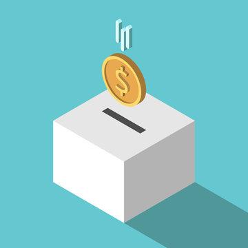 Isometric coin falling, box