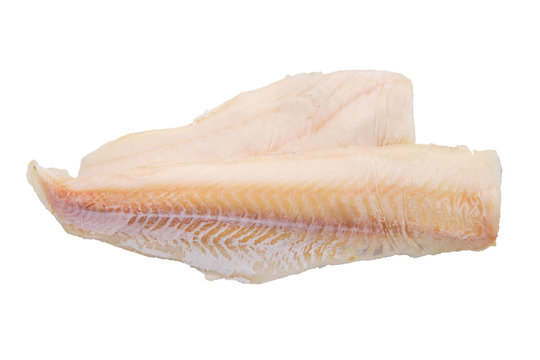 Top view of cod fillet isolated on white