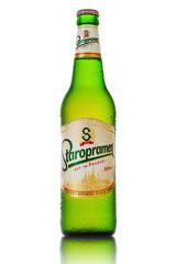 MINSK, BELARUS - OCTOBER 3, 2016: Bottle of Staropramen beer isolated on white background. Staropramen Brewery is the second largest brewery in the Czech Republic