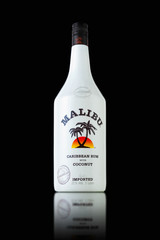 MINSK, BELARUS - OCTOBER 3, 2016: Bottle of Malibu Rum  - internationaly renowned coconut flavored rum-based liqueur made with natural coconut extract produced on Barbados