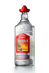 MINSK, BELARUS - OCTOBER 3, 2016: Bottle of Tequila Sierra Silver isolated on white background. Tequila is a regional specific name for a distilled beverage made from the blue agave plant in Mexico