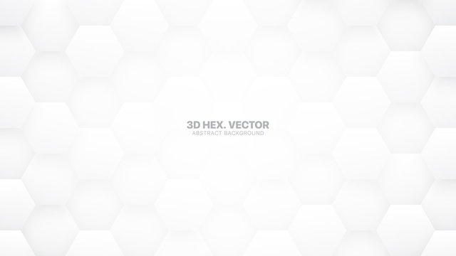 Technologic 3D Vector Hexagons White Abstract Background. Science Technology Hexagonal Blocks Pattern Conceptual Light Gray Wallpaper. Clear Blank Subtle Textured Banner Backdrop