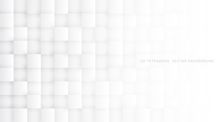 White 3D Vector Tetragons Abstract Background. Science Technologic Square Blocks Structure Light Conceptual Wallpaper. Three Dimensional Clear Blank Subtle Textured Backdrop