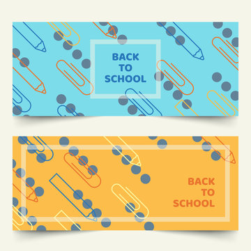 Back to school banners with simplified geometric line of pencils and paper clips on plain background