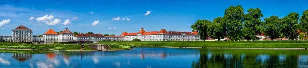 MUNICH, GERMANY - MAY 8, 2012: Panorama of Nymphenburg Palace (Schloss Nymphenburg). This Baroque palace is the main summer residence of the former rulers of Bavaria of the House of Wittelsbach