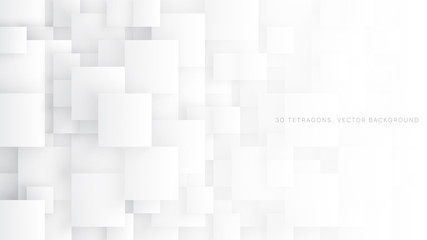 Conceptual 3D Vector Different Size Tetragons Technologic White Abstract Background. Science Technology Square Blocks Structure Light Wallpaper. Tech Clear Blank Subtle Textured Backdrop Wall mural
