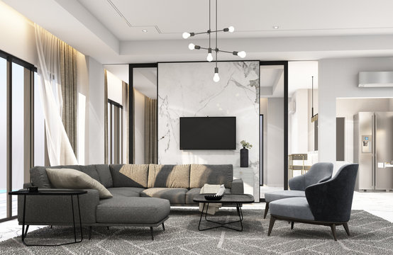 Interior living area in modern luxury style. 3D rendering