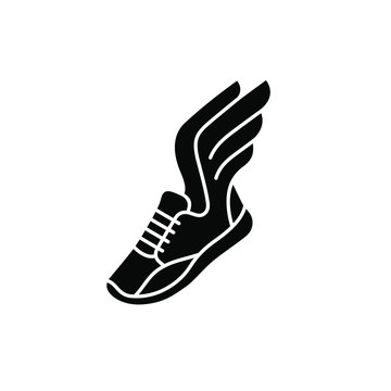 Speeding running sport shoe symbol, icon or logo. Running shoe with wings. Vector illustration