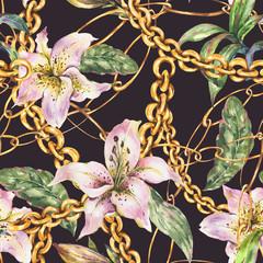 Modèle sans couture de chaînes et d& 39 anneaux en or à l& 39 aquarelle avec des lys royaux blancs, éléments de luxe vintage à la mode