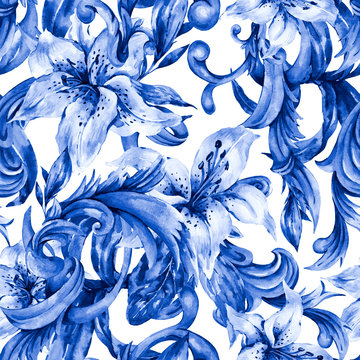 Watercolor blue baroque seamless pattern with white royal lilies. Hand drawn blue scrolls, flowers, leaves.